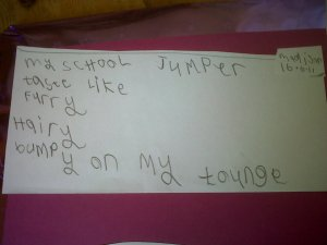 My School Jumper - a writing exercise using all five senses