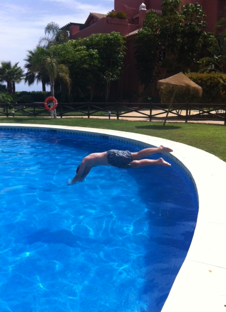 Johnny diving into the pool