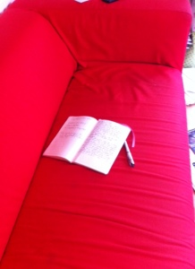 sofa and pen