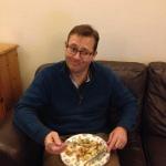 Andrew eating fish pie!