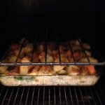 Fish pie in oven