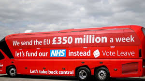 "Vote Leave campaign bus featuring their slogan ""Let's take back control"""