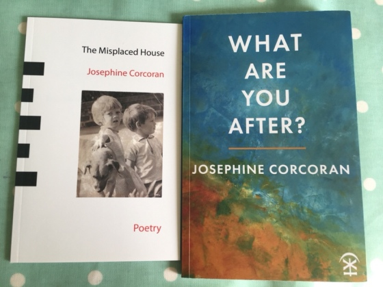 The image is of two books written by Josephine Corcoran. The first one is called 'The Misplaced House'. It is predominantly black and white and has a photograph of two children and a mongrel dog on the cover. The second is called 'What Are You After?' and is predominantly blue.