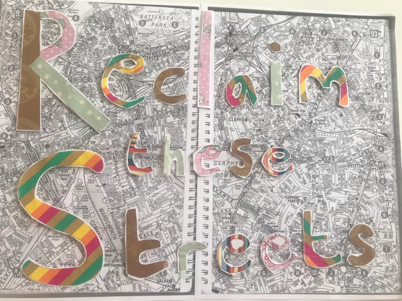 The image is of colourful letters making up the words 'Reclaim these Streets' layered on top of black and white photocopied pages of a London A-Z